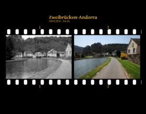Zwei Bilder auf Fimstreifen mit schwarzem Hintergrund montiert. Links die schwarz-weiß-Version, rechts bunt zehn Jahre später aufgenommen. Titel Zweibrücken-Andorra 2000-2010 km 101. Ein geteerter ehemaliger Treidelpfad rechts eines Kanals führt in einem engen Tal an einzelstehenden Wohngebäuden vorbei.