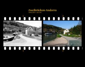 Am Treidelpfad eines französischen Kanals. Ein kleiner Kanalhafen und rechts ein paar Häuser. Links der Kanal, neben dem eine Landstraße vor Berghängen entlangführt. Zwei Bilder auf Fimstreifen mit schwarzem Hintergrund montiert. Links die schwarz-weiß-Version, rechts bunt zehn Jahre später aufgenommen. Titel Zweibrücken-Andorra 2000-2010 km 410.