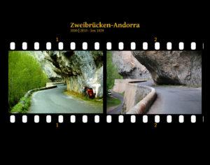 In den Fels gehauene schmale Straße, die sich kurvenreich teils unter Felsvorsprüngen schlängelt. Ein Fahrrad lehnt rechts am Felsen. Zwei Bilder auf Fimstreifen mit schwarzem Hintergrund montiert. Links die schwarz-weiß-Version, rechts bunt zehn Jahre später aufgenommen. Titel Zweibrücken-Andorra 2000-2010 km 1029.
