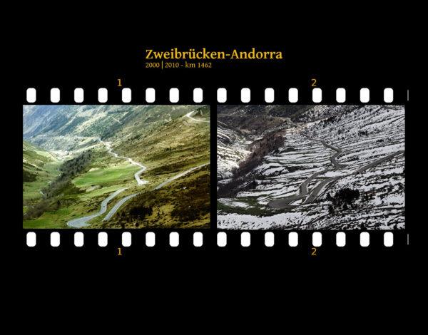 Blick abwärts auf eine serpentinöse große Landstraße. Vereinzelt liegt Schnee an den Berghängen, insbesondere im rechten der beiden Bilder. Zwei Bilder auf Fimstreifen mit schwarzem Hintergrund montiert. Links die schwarz-weiß-Version, rechts bunt zehn Jahre später aufgenommen. Titel Zweibrücken-Andorra 2000-2010 km 1462.