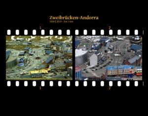 Blick abwärts auf einen modernen Skiort. Einkaufszentren und Hotels und ein markanter Verkehrskreisel in der Bildmitte, auf dem die Hauptstraße wie eine Kurve mit Wendepunkt zuführt. Zwei Bilder auf Fimstreifen mit schwarzem Hintergrund montiert. Links die bunt, rechts bunt zehn Jahre später aufgenommen. Titel Zweibrücken-Andorra 2000-2010 km 1466.