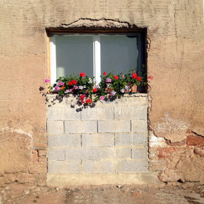 Ein zu zwei Dritteln zugemauertes Fenster oder Tür in rötlichbrauner, unsauber verputzter Fassade. Die Zumauerung ist grau und unverputzt. Blumen, Geranien vermutlich stehen darauf und das obere Drittel ist ein zweiteiliges Fenster, das wie große quadratische Augen ausschaut.