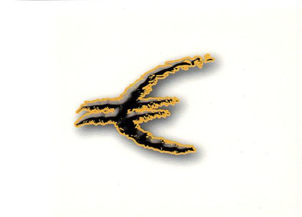 Abstraktes verzerrtes Eurozeichen mit Schlagschatten. Zerfledderte schwarze Struktur von gelbem Rand umgeben