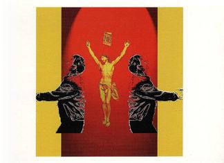 Zentrale Kreuzigungsszene umrankt von zwei gespiegelten Cops als schwarze Silhouette auf gelb-rotem Untergrund