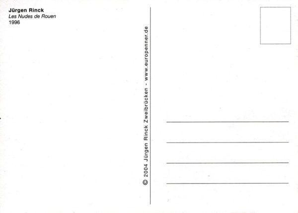Postkartenrückseite. maske mit Adressfeld, Trennlinie, Titel, Künstlername und Briefmarkenrechteck