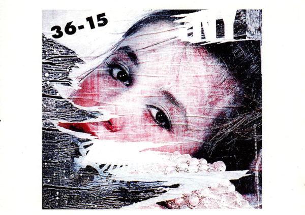 Zerfetztes Plakat mit Mädchengesicht offenbar aus einer Telefonsexwerbung.