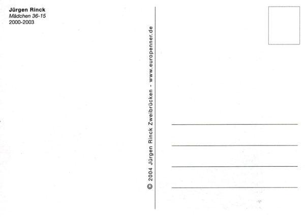 Postkartenrückseite mit typischem Blankomuster und Titel und Künstlername