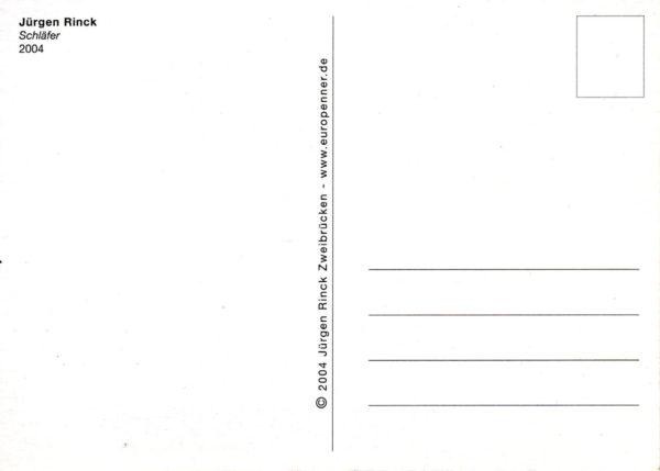 Postkartenrückseite mit Adress- und Briefmarkenfeld und Titel des Motivs.