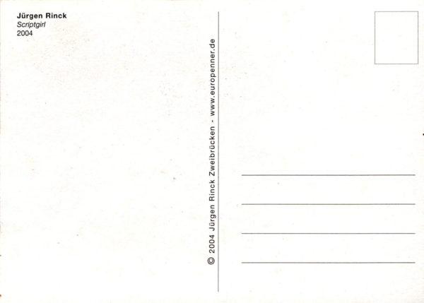 Postkartenrückseite mit Linien, Adressfeld und Briefmarkenfeld, sowie Titel des Motivs und Künstlername