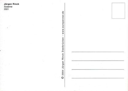 Postkartenrückseite mit Adress und Briefmarkenfeld, zentraler Trennlinie und Titel und Künstlername.
