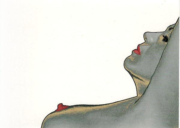 Liegender Akt in silberblaugrauer Verfärbung, rote Lippen und Brüste im Profil