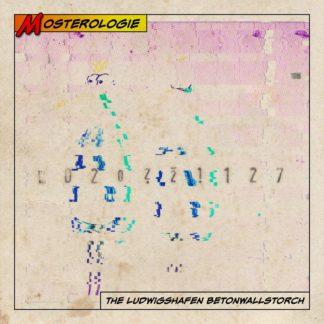 Ein zerlegtes Graffiti eines aufrecht stehenden Vogelwesens, das wie ein Mensch aussieht in einem Comic-Feld mit Rotgelber Überschrift Monsterologie.