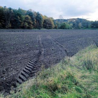 Vom grün bewachsenen Radn eines Ackers weicht eine Traktorspur mit Pfeilförmigem Profil schräg ab in die frisch geeggte Erde. Im Hintergrund Waldrand.