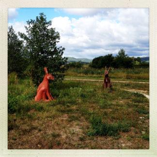 Überlebensgroße Hasenskulpturen auf einer kleinen Brache am Rand eines Feldweges