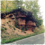 Roter, geschichteter Felsen am Straßenrand, auf dem eine kleine Fichte wächst.
