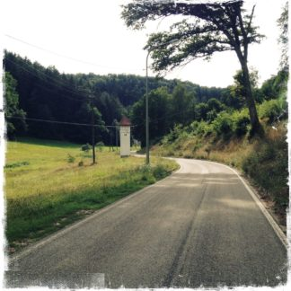 Kleine Straße führt neben einem Hang zur Linken abwärts, vorbei an einem alten Stromverteilertürmchen. Im Hintergrund dichter Wald.