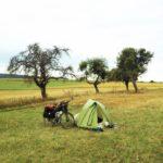 Zelt neben Fahrrad auf grüner Streuobstwiese. Im Hintergrund ein paar Obstbäume.