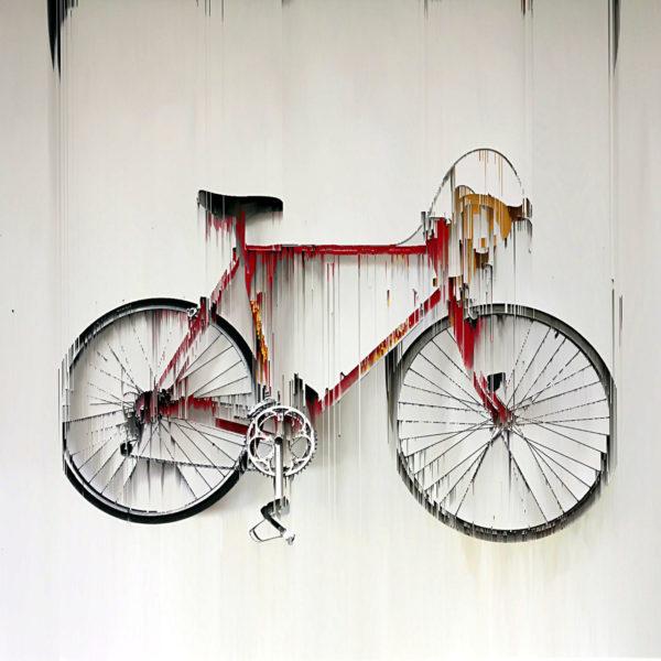 In streifen von oben nach unten zerlaufendes rotes Rennrad mit gelbem Lenker vor weißlicher Wand