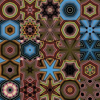 In fünf Reihen und Spalten sind verschiedene kaleidoskopische Sterne angeordnet. Grundfarbton rot-braun mit hellblauen Elementen.
