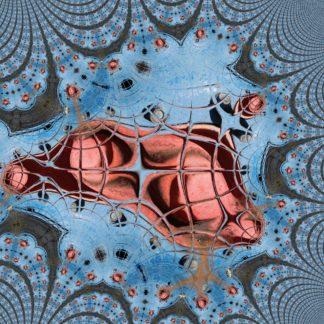 Blau-rotes abstraktes Bild, dessen exzentrische Anordnung in der Mitte eine Art Spinnennetzstruktur zeigt, ähnlich der Spiderman-Grafiken. Gegen den Rand verliert sich die Struktur in immer kleiner werdenden Einheiten.
