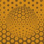Gelber Grundton. Darauf eine Kugel, die sich aus vielen kleinen kaleidoskopischen Elementen zusammensetzt. Orientierung des Lichteinfalls von oben nach unten.