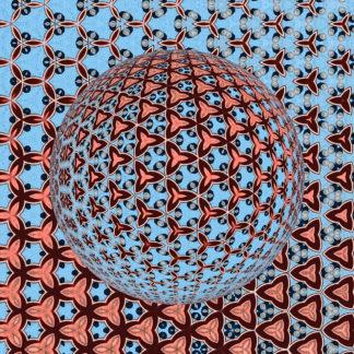 Hellblauer Grundton mit rosa dreieckigen Strukturen. Darauf eine Kugel, die sich aus vielen kleinen kaleidoskopischen Elementen zusammensetzt. Orientierung des Lichteinfalls von oben nach unten.