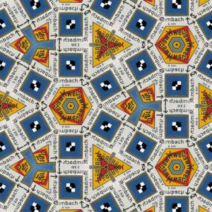 Struktur aus gelblichen, rötlichen und blauen geometrischen Formen, die ein Zeilen und Spalten diagonal versetzt angeordnet sind und einr egelmäßiges Muster aus Quadraten, Dreizacken und dreieckig gepressten Sechseckstrukturen bilden.