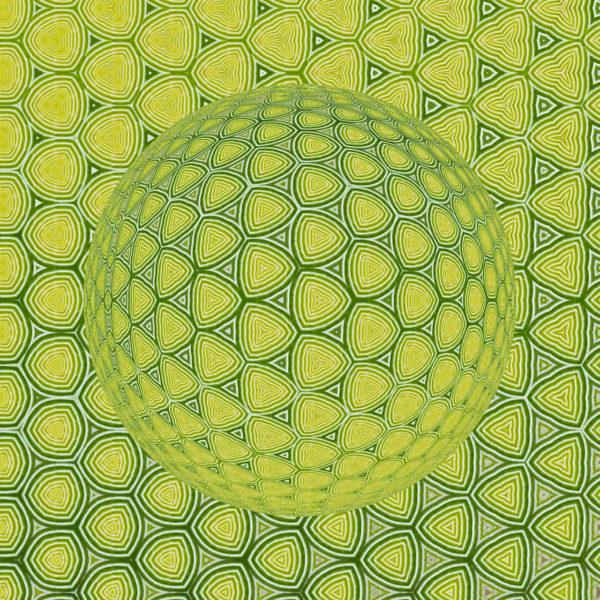 Kugelform mit scheinbarem Lichteinfall von links oben, bestehend aus vielen kleinen, abgerundeten Dreiecken in grün und gelblich grün