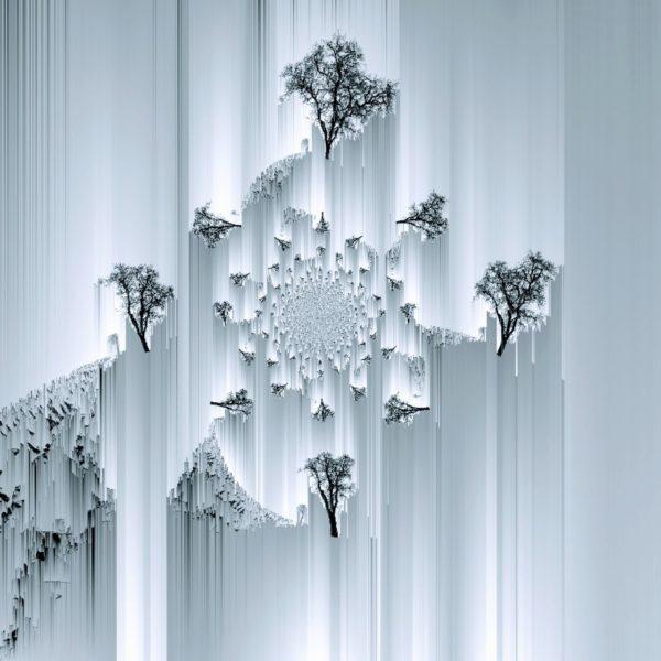 Fraktale mehrfache Abbildung eines Birnbaums mit senkrechten Streifen in grau silberner Töung.