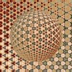 Eine Kugel aus einem kaleidoskopischen, sternartigen Muster, das sich stets wiederholt. Kugelförmige Sterne mit einem scheinbaren Lichteinfall von unten rechts.