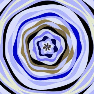 Konzentrische Ringe in blaugrau, die nicht ganz rund sind und Ausbeulungen haben, so dass das Ensemble wie eine stilistische Blüte einer blauen Blume wirkt.