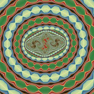 Konzentrische Ovale mit fraktalen Schnörkeln in grünlich bläulichen Farben mit schmalen roten Einmischungen.