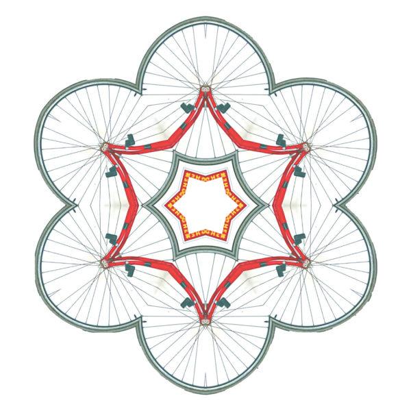 Nur schwer erkennt man, dass die breite rote Linie im Zentrum einer Umrisslinie, die wie Blumenblütenblätter stilisiert ist, ein Fahrradrahmen ist und die Blütenlinie aus Fahrradreifen besteht.