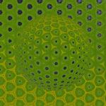 Die grundstruktur der abstrakten grünen Kugel entsteht aus unregelmäßigen Sechsecken, die man bei oberflächlicher Betrachtung für Fünfecke handeln könnte. Gelbe und graublaue Einflüsse strukturieren die Szene und wirken Formgebend auf das Gebilde.