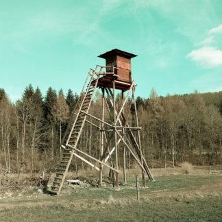 Ein sehr hoher Hochsitz vor Nadelwald in blass cyanfarbener Atmosphäre. Die Leiter steht von links an.