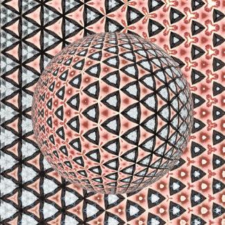 Aus dunkel umrandeten verschnörkelten Dreicken bildet sich eine abstrakte Kugel. Das licht scheint von rechts oben einzufallen.