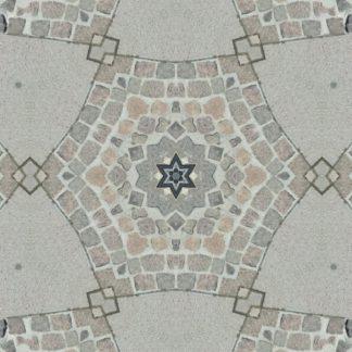 Kaleidsokopisch verspiegelt bildet Kopfsteinpflaster in der Draufsicht ene Art Stern mit sechs Zacken.