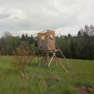 Noch fehlt das Dach dieses Hochsitzes im Aufbau. Neben einem kleinen Bäumchen, kaum halb so hoch wie das Bauwerk steht das Ensemble in halbhohem Gras vor einem Waldrand. Im Hintergrund zwei Windräder.