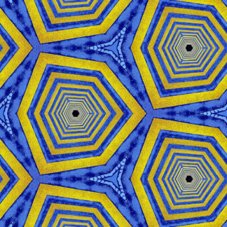 Wie zu ringen geschnittene Zwiebeln wirken die sechseckigen Strukturen, die sich regelmäßig ins Bild fügen. Abwechselnd blau und gelb gefärbte Ringe.