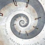 Ein spiralisiertes Foto einer nüchternen Betonwand. Aufschrift Hörsaalgebäude. Die Spirale dreht im Uhrzeigersinn. Markante, braune Haken durchziehen die Spirale in regelmäßigen Abständen - die leeren Fahrradständer vor der Wand.