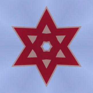Sechzackiger roter Stern auf hellgrau-blauem Hintergrund. Die Sternfläche ist von Dreiecken durchbraochen und im Zentrum bildet sich ein Sechseck.