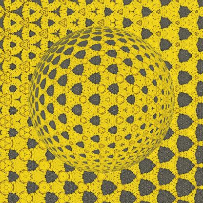Aus gerundeten Dreiecksstrukturen bildet sich in steter, fraktaler Wiederholung eine Kugel mit gelblichem Grundton. Die Wiederholungsrhythmen suggerieren einen Lichteinfall von oben links.