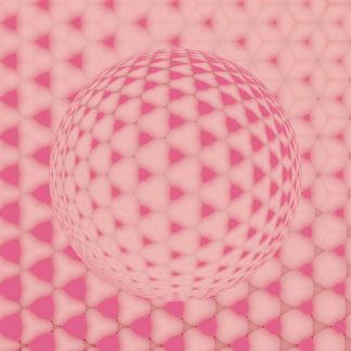 Aus gerundeten Dreiecksstrukturen bildet sich in steter, fraktaler Wiederholung eine Kugel mit rosa Grundton. Die Wiederholungsrhythmen suggerieren einen Lichteinfall von oben rechts.